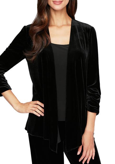 Alex Evenings Womens Pointed Hem Jacket