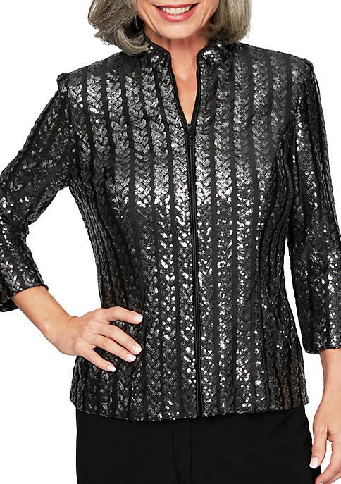 Alex Evenings Womens 3/4 Sleeve Zip Jacket