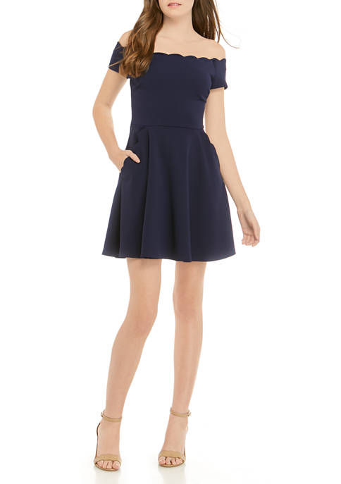 Juniors Scallop Pocket Dress
