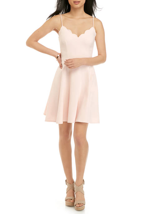 B. Darlin Juniors Spaghetti Strap Scallop Hem Dress