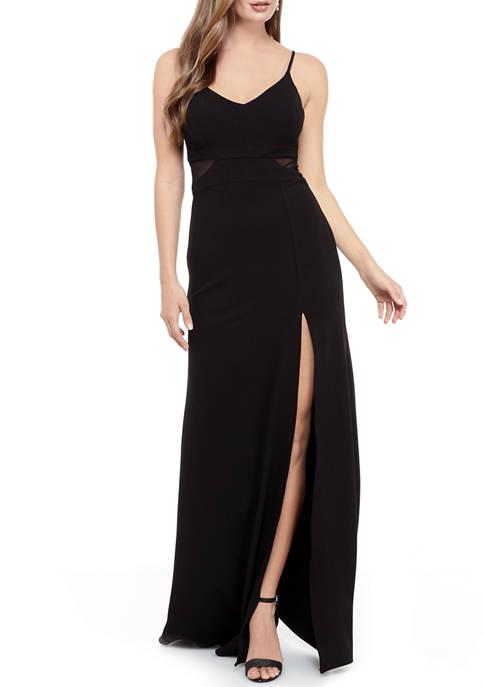 Womens Mesh Inset Scuba Crepe Gown