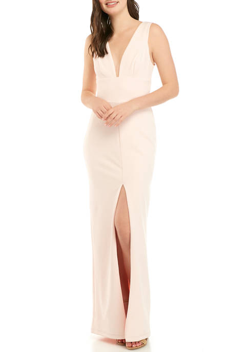 Womens Deep V Neck Crepe Gown