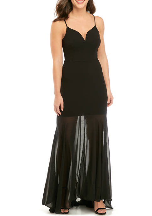 B. Darlin Womens Crepe Gown with Chiffon Bottom