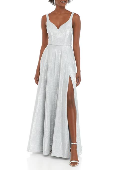 Womens Sleeveless Deep V-Neck Glitter Ballgown