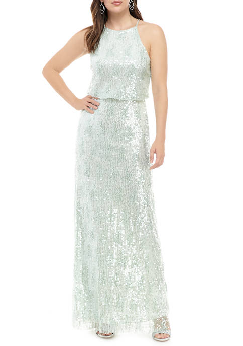 B. Darlin Womens Halter Sequin Gown
