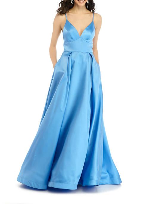 B. Darlin Womens Halter Taffeta Ball Gown