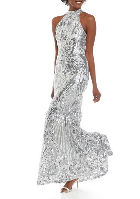 Womens Halter Sequin Gown