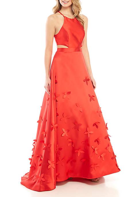 049ac5abc1d5 B. Darlin Flower Applique Satin Halter Gown