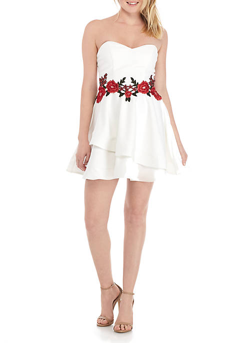 B. Darlin Embroidered Waist Tiered Hem Fit-and-Flare Dress
