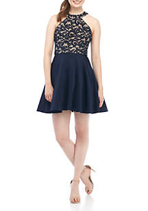 Lace Bodice Halter Fit-And-Flare Dress