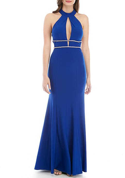 B. Darlin Rhinestone Embellished Jersey Halter Gown