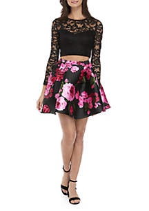 2-Piece Lace Top and Floral Print Skirt Set
