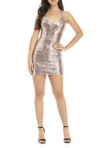 Sleeveless Racerback Sequined Sheath Dress
