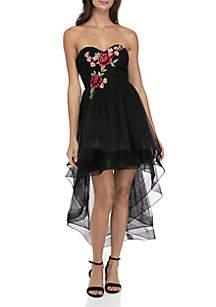Floral Embellished Mesh Dress