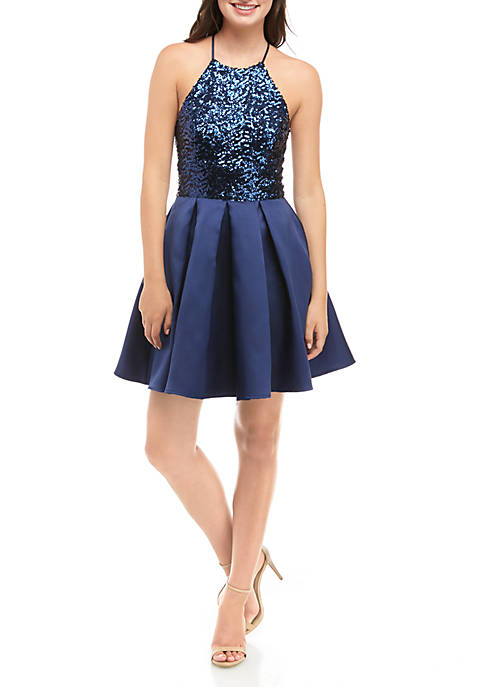 B. Darlin Sleeveless Sequin Bodice Fit and Flare
