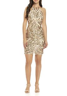 Sleeveless Sequined Mesh Dress