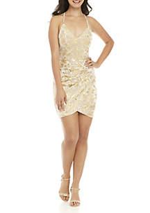 Printed Velvet Sheath Dress