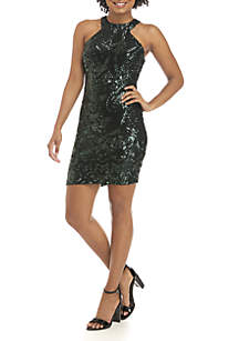 Sequin Halter Cocktail Dress