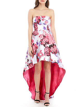 0a85e195034 B. Darlin Strapless Floral High Low Hem Twill Gown ...