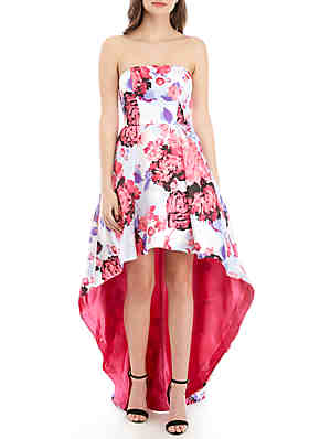 959d0334fff B. Darlin Strapless Floral High Low Hem Twill Gown ...
