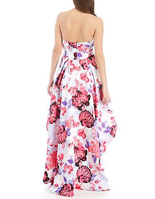36ae58236 B. Darlin. B. Darlin Strapless Floral High Low Hem Twill Gown