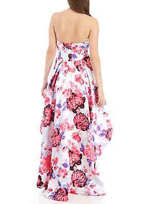bdedafdef3ba ... B. Darlin Strapless Floral High Low Hem Twill Gown