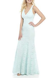 B. Darlin Glitter Lace Mermaid Gown