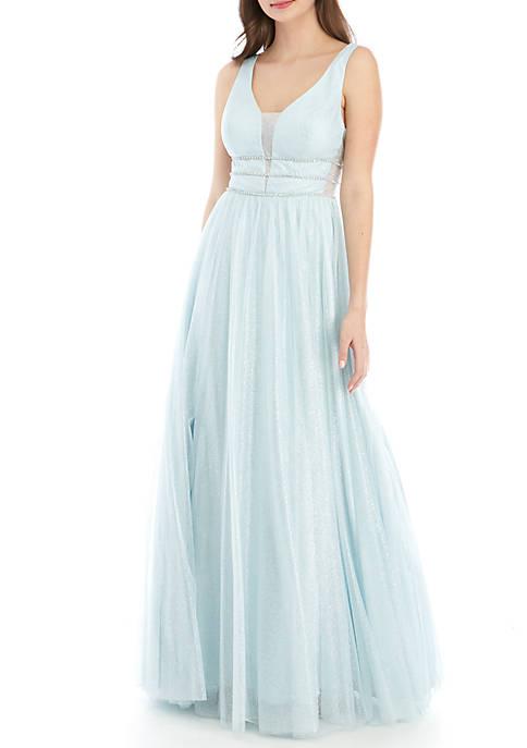 B. Darlin Embellished Bodice Glitter Mesh Ballgown
