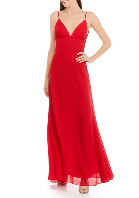 Womens Deep V-Neck A-Line Gown