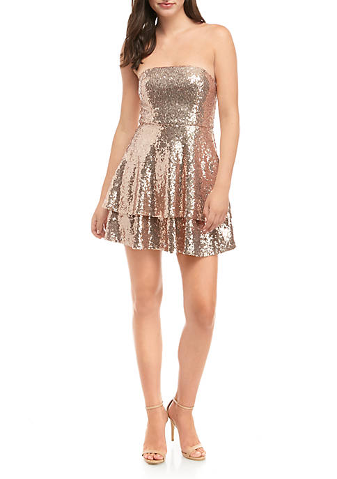 B. Darlin Strapless Sequin Tiered Fit and Flare