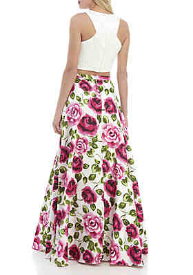 85a0a7951bf ... B. Darlin 2-Piece Floral Print Gown