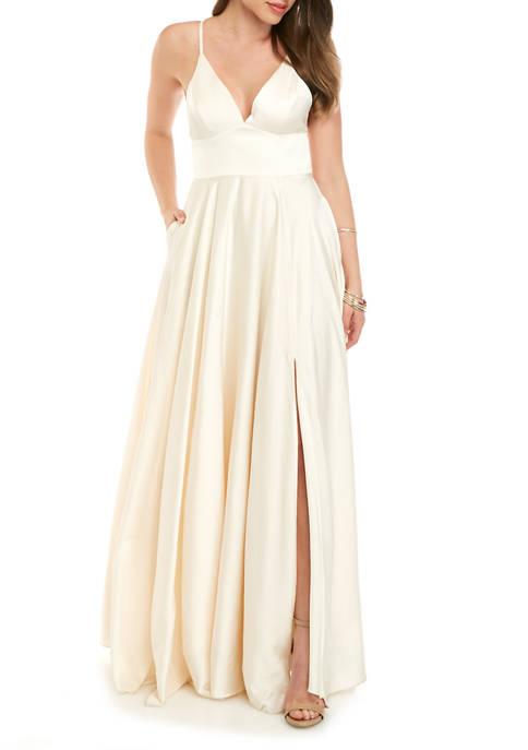 Womens Sleeveless V-Neck Satin Slip Dress