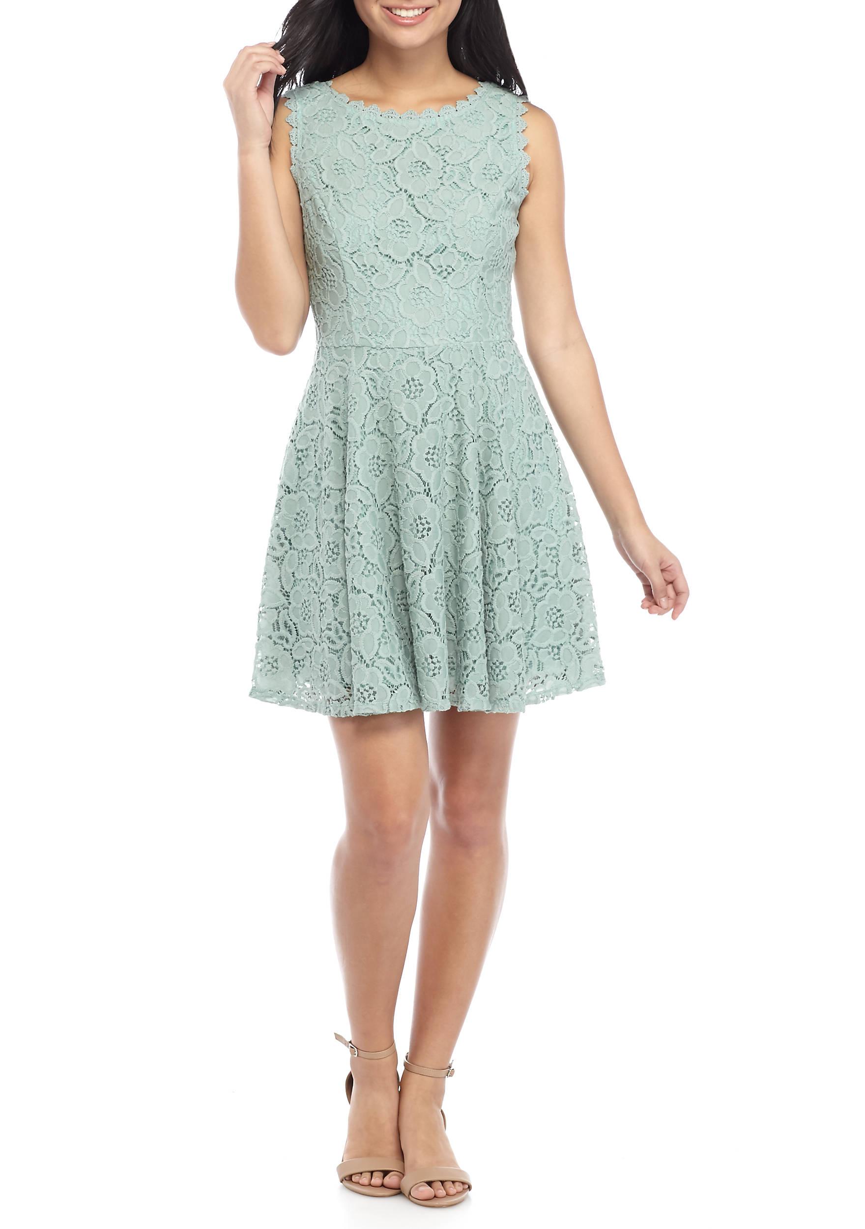 City Triangles Lace Skater Dress | belk