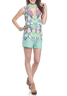 City Triangles High Neck Printed Romper
