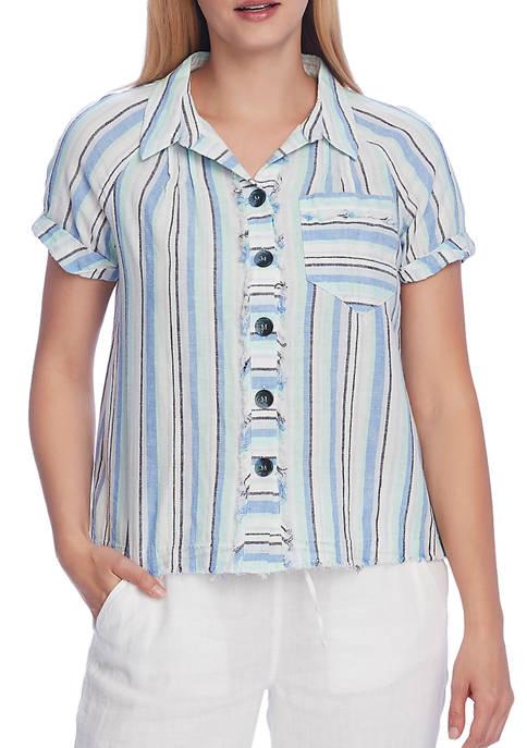 Womens 1 Pocket Button Down Shirt