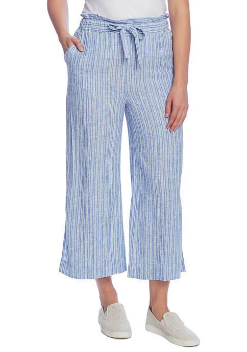 Womens Wide Slit Linen Stripe Pants