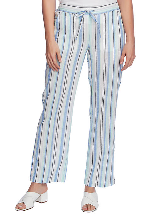 Womens Wide Leg Linen Stripe Pants