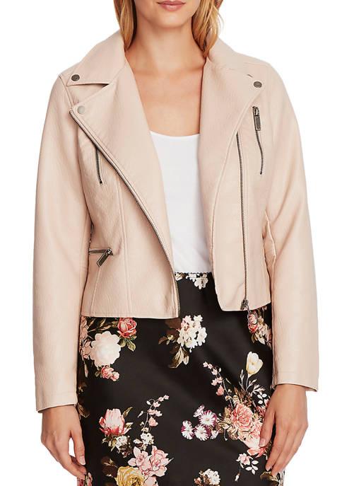 Womens Long Sleeve Faux Leather Bomber Jacket