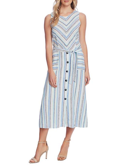 Womens Sleeveless Wistful Stripe Belted Dress
