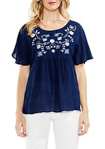 Short Sleeve Drop Shoulder Embroidered Blouse