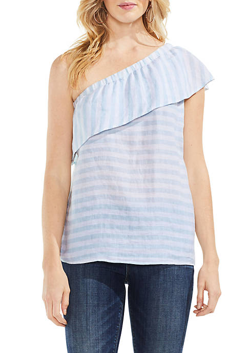Vince Camuto Ruffle Sleeve One Shoulder Stripe Blouse