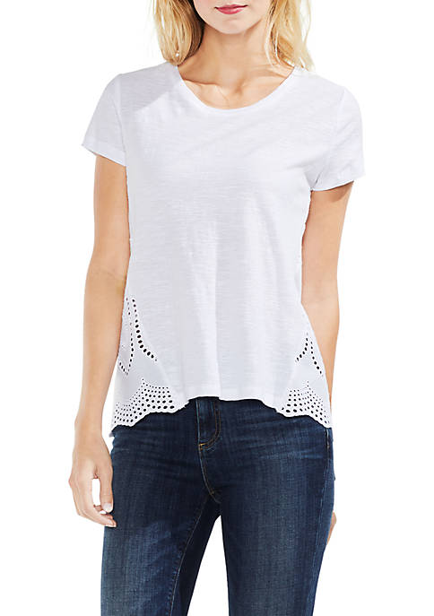 Short Sleeve Tee With Delicate Lace Eyelet