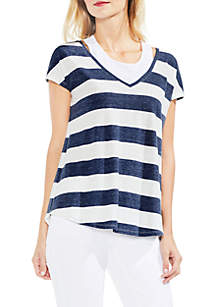 Short Sleeve Modern Bold Stripe Top