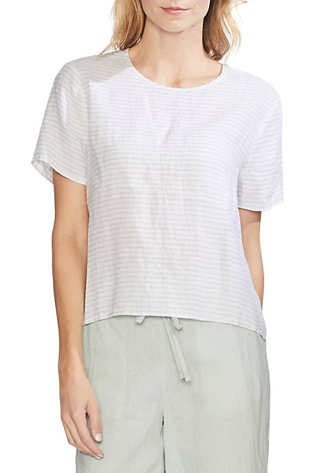 Short Sleeve Linen Stripe Top