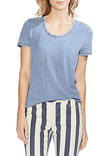 Vince Camuto Short Sleeve Burnout Scoop Neck Tee
