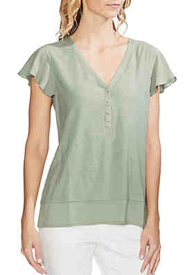 429e14f3acd13c Vince Camuto Essential Mixed Media Flutter Sleeve Henley Top ...