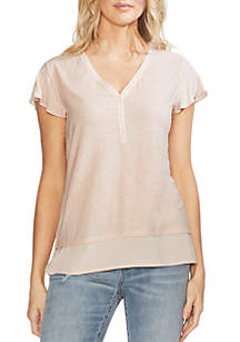 Vince Camuto Essential Mixed Media Flutter Sleeve Henley Top
