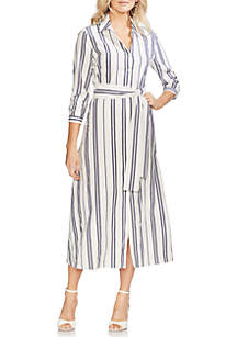 Vince Camuto Striped Tie Front Shirt Dress