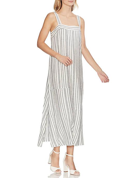 Sleeveless Variegated Stripe Linen Dress