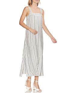 Vince Camuto Sleeveless Variegated Stripe Linen Dress
